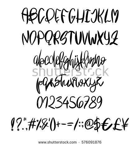 Vector Hand Painted Latin Alphabet Unique Handdrawn Black