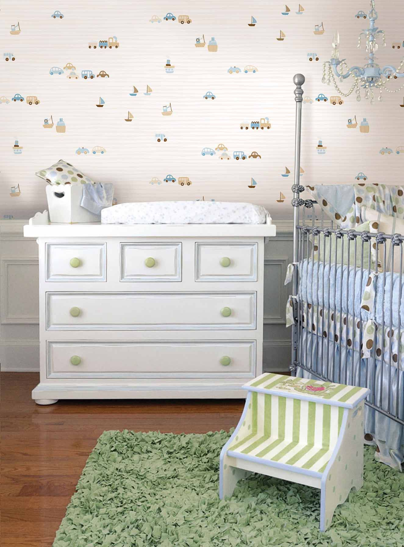 Empapelado Autos Beige Papel De Parede Baby Room Decor Baby Wall Art Kids Wall Decals