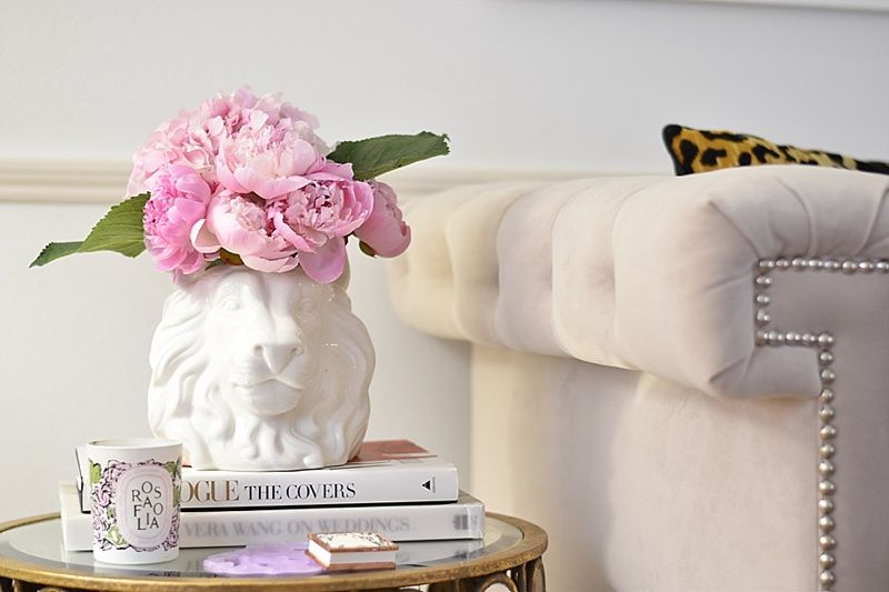 Leopard Pillows, Coffee Table Books, Coffee Table, Mirrored Coffee Table,  Peonies,