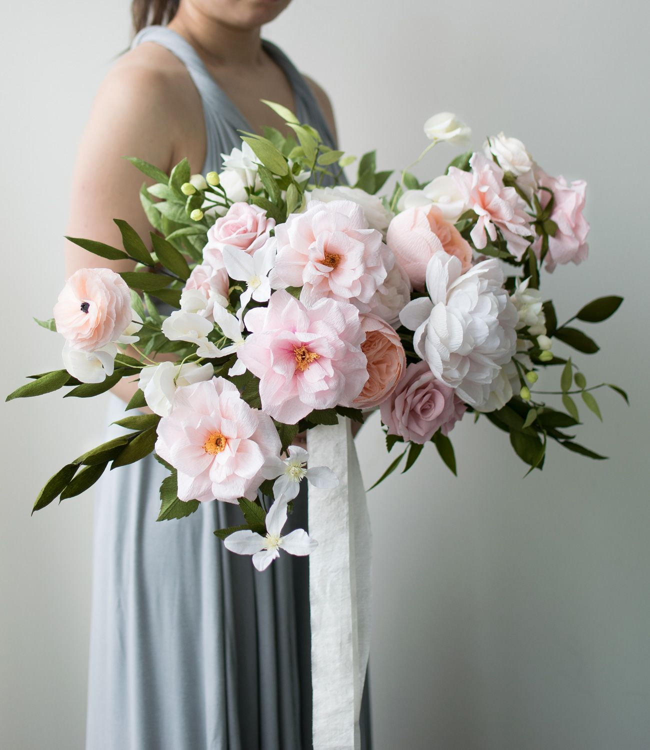 Pink blush crepe paper bouquet flower bouquets flower and craft