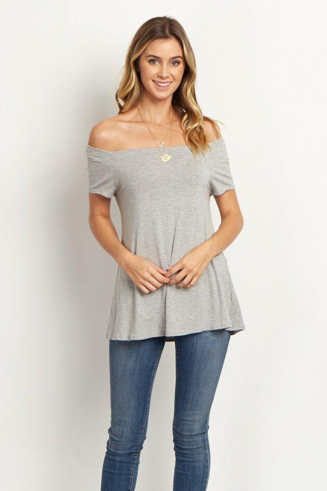 Grey Off-the-Shoulder Short Sleeve Top