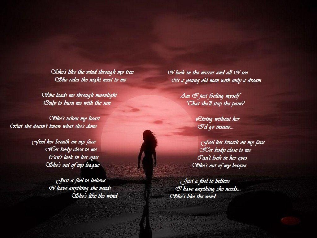 She/'s Like The Wind Heart Song Lyric Quote Print