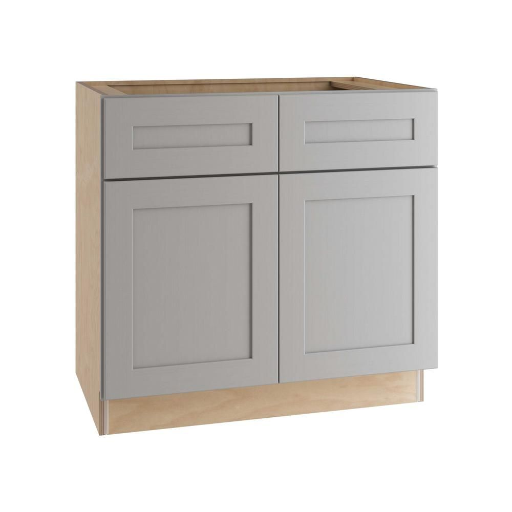 Home Decorators Collection Tremont Assembled 36 X 34 5 X 24 In Plywood Shaker Base Kitchen Cabinet 2 Rollouts Soft Close In Painted Pearl Gray B36 2t Tpg The Base Cabinets Home Decorators