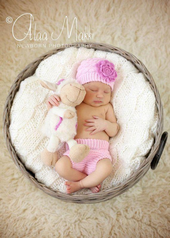 Photo of Neugeborene Fotoreppe, Neugeborene-Set für Mädchen mit großer Blume, rosa Windel-Abdeckung und Hut Set