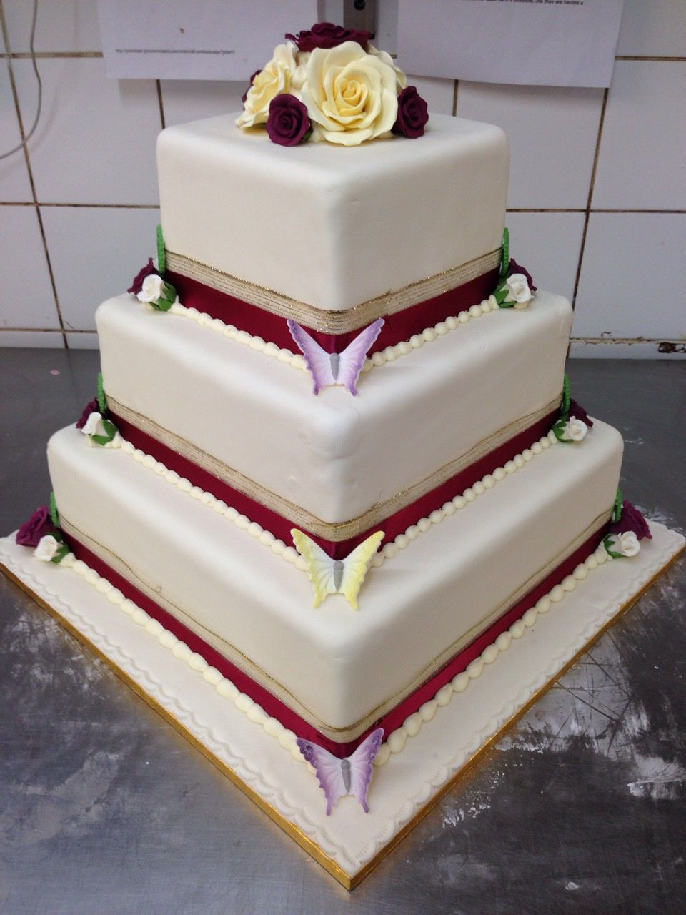 Square Wedding Cake With Butterflies By Patisserie Valerie