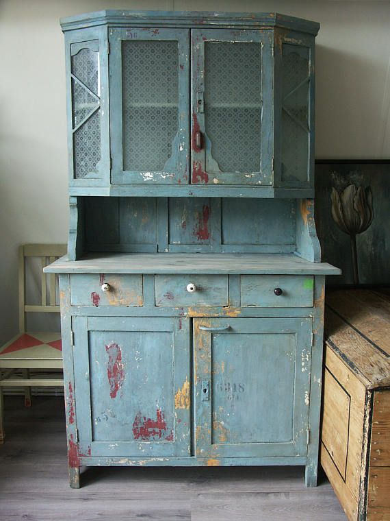 Sold Blue Chippy Cupboard Hutch Cabinet With Drawers