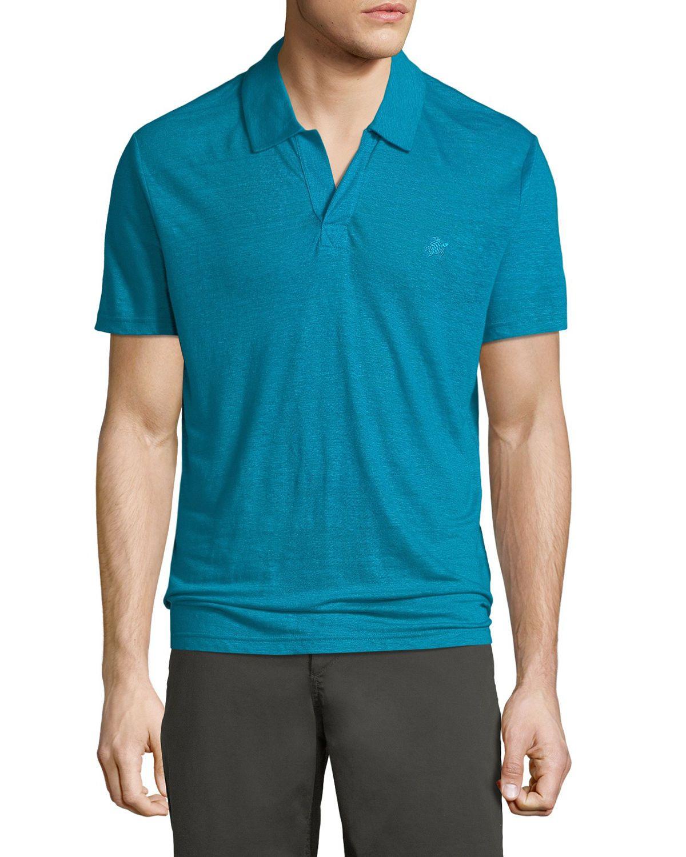 Vilebrequin Mens Pyramid Linen Polo Shirt Vilebrequin Cloth
