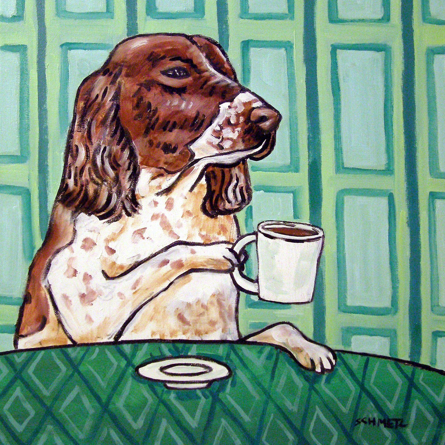 english springer spaniel coffee cafe decor dog art tile coaster gift 425 x 425 inch - Cork Cafe Decor