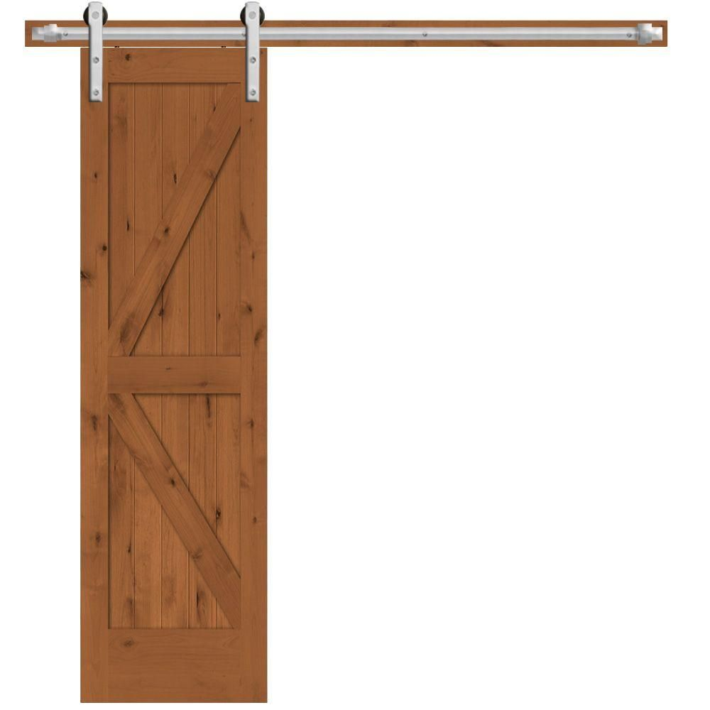 Steves Sons 24 In X 84 In Rustic 2 Panel Stained Knotty Alder Interior Barn Door Slab With Sliding Door Hardware Wheat Stainless Interior Sliding Barn Doors Interior Barn Doors Doors