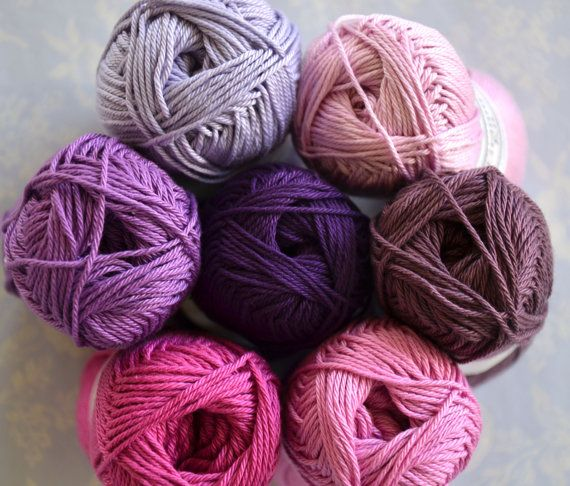 Purples Cotton Yarn 7 Purple Colour Combination By Crochetobjet 25 00 Hilados De Lana Tipos De Lana Manualidades