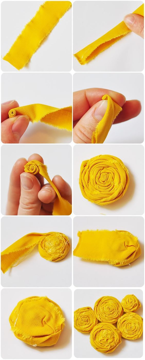 Rolled fabric flower - how to make a fabric rosette | Fabric