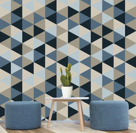 Unique Home Decor Accessories: Geometric Removable Wallpaper, Blue, Navy, Creams Self