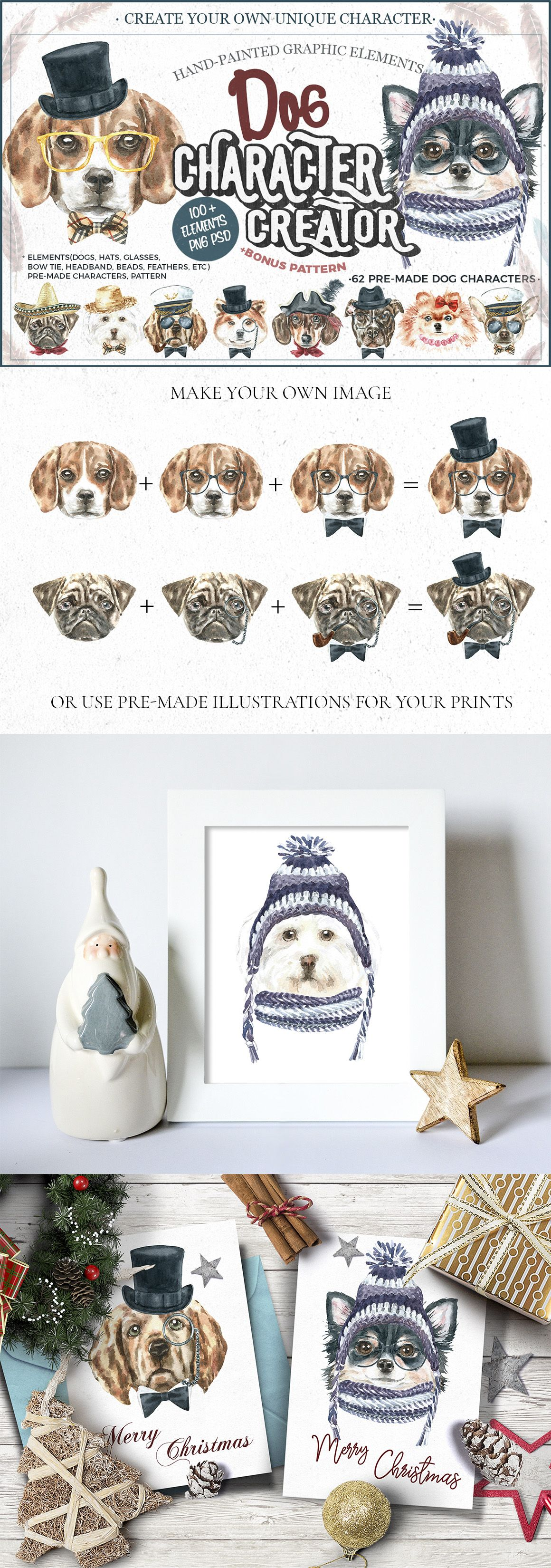 Dog Portraits For Christmas Cards And New Year Posters Create
