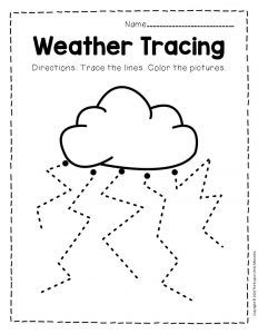 Free Printable Storm Clouds Tracing Weather Preschool