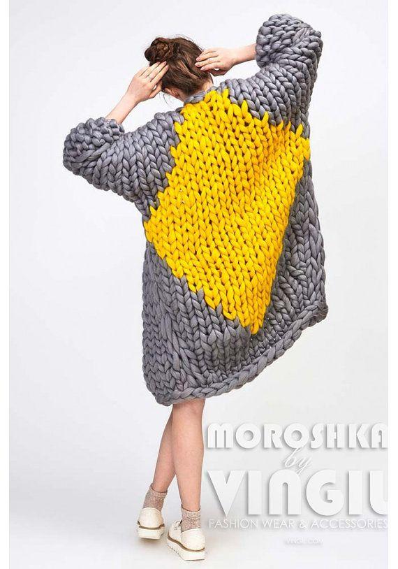 Chunky knit cardigan. Big yarn sweater. Chunky knitting. Bulky ...