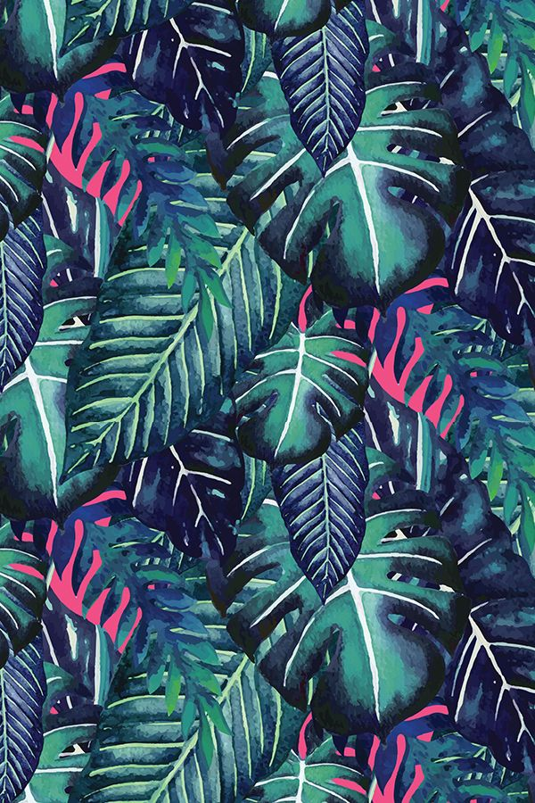 9065afd9 Jungalow Brights No.6 by lottiefrank - Hand painted palm and monstera leaves  on fabric, wallpaper, and gift wrap. Deep emerald green leaves with neon ...