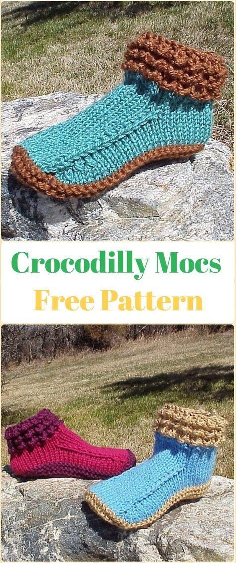 Knit Crocodilly Mocs Free Pattern Knit Adult Slippers Free