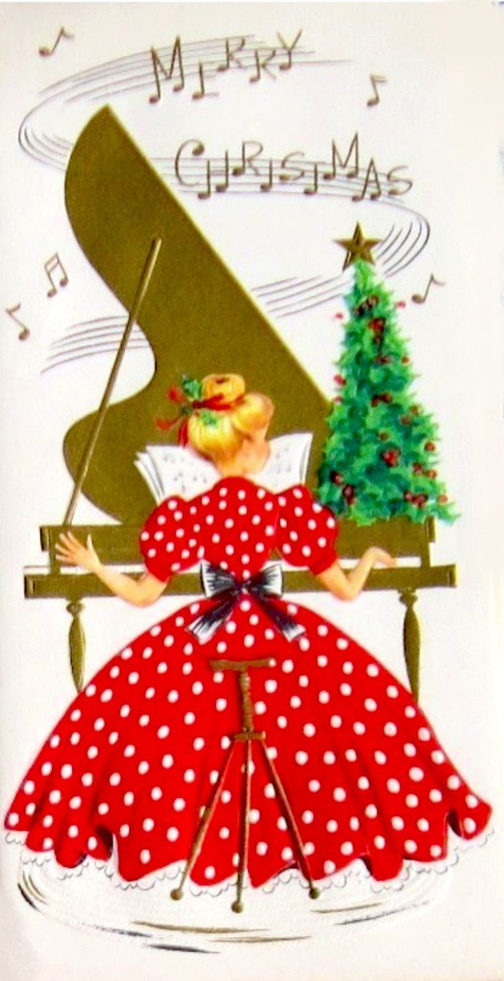 Christmas playlist christmas pinterest christmas playlist vintage christmas greeting card with a polka dot dress to die for m4hsunfo