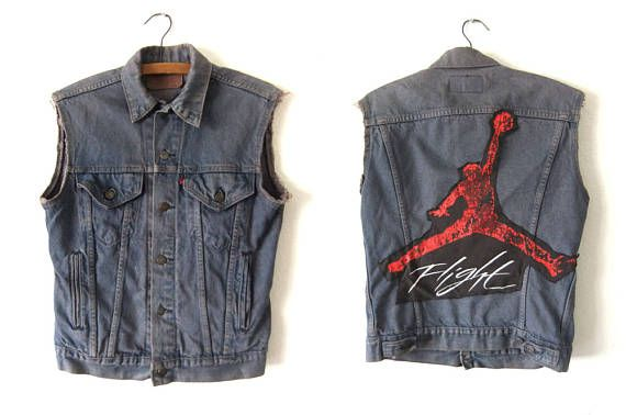 buy online 97937 35ea9 Air Jordan Vintage Denim Vest - 90s Nike Flight Custom Levis Jean Jacket -  Mens Small