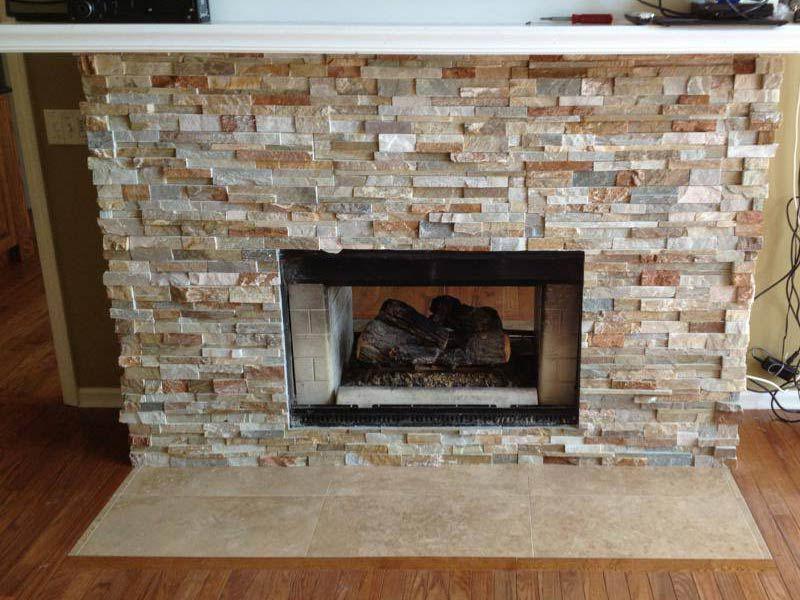 Stone Tile Fireplace Custom Surrounded Stone Tile