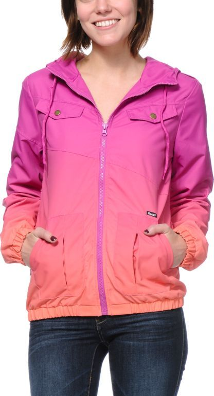 6c23a6025 Volcom Enemy Lines Blush Pink   Coral Ombre Windbreaker Jacket