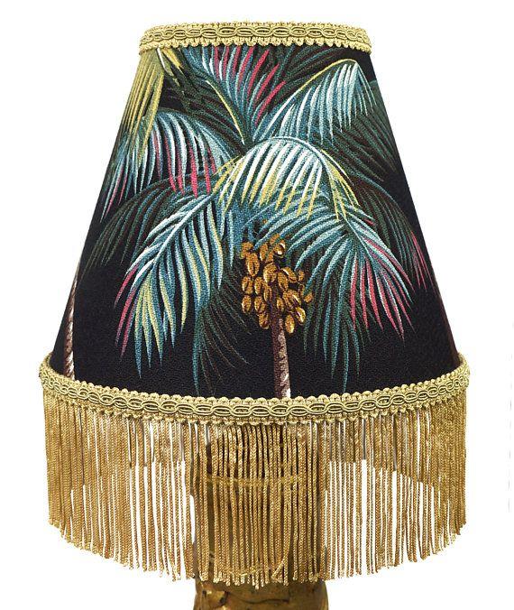 Tiki Decor Palm Tree Print Retro 20cm Lamp Shade With Fringe Etsy Tiki Decor Unique Lampshades Lamp Shade
