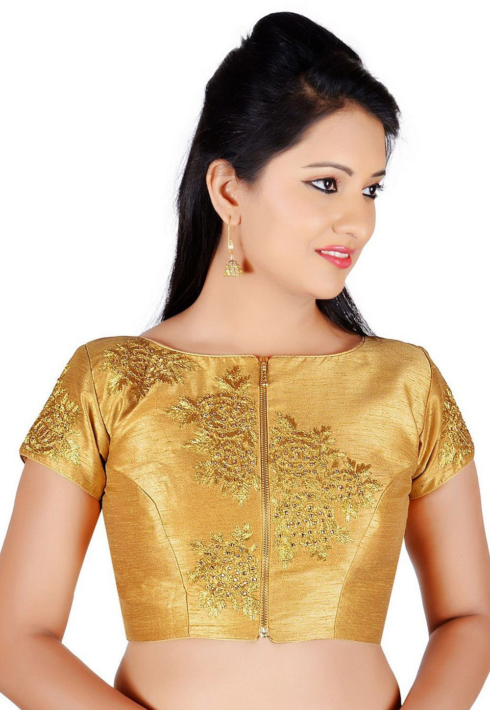 3e849ec2109aed Art Dupion Silk Padded Blouse in Golden This Readymade piece is Enhanced  with Zari