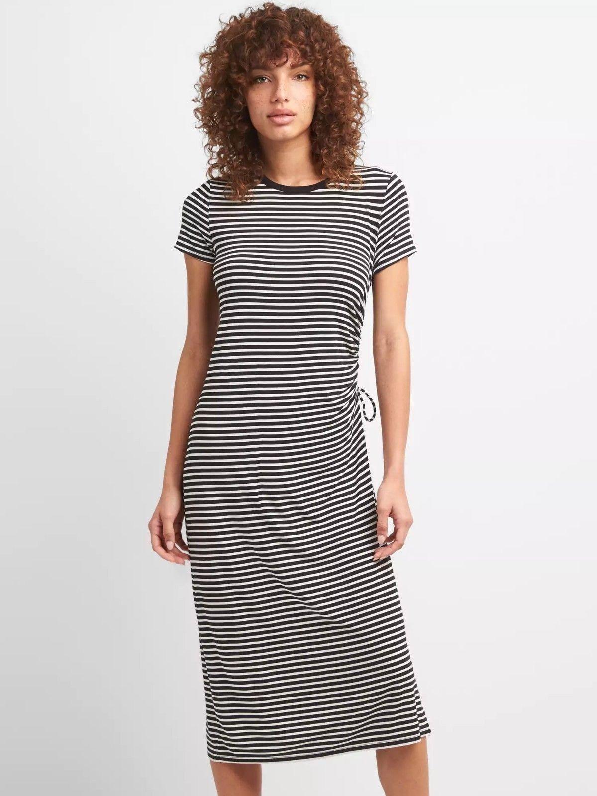f5b5f4b6aaa NEW GAP Womens Ruched Black White Stripe Midi Dress Knit Drapey Size S  59  NWT