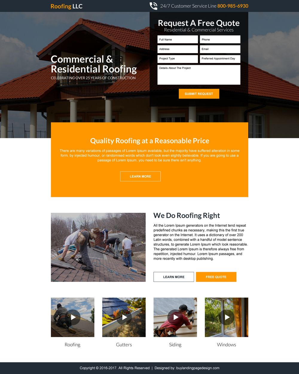 Quality Roofing Service Responsive Landing Page Roof Roofing Restoration Roofingservice Residentialroofing Commerci Roofing Services Roofing Landing Page