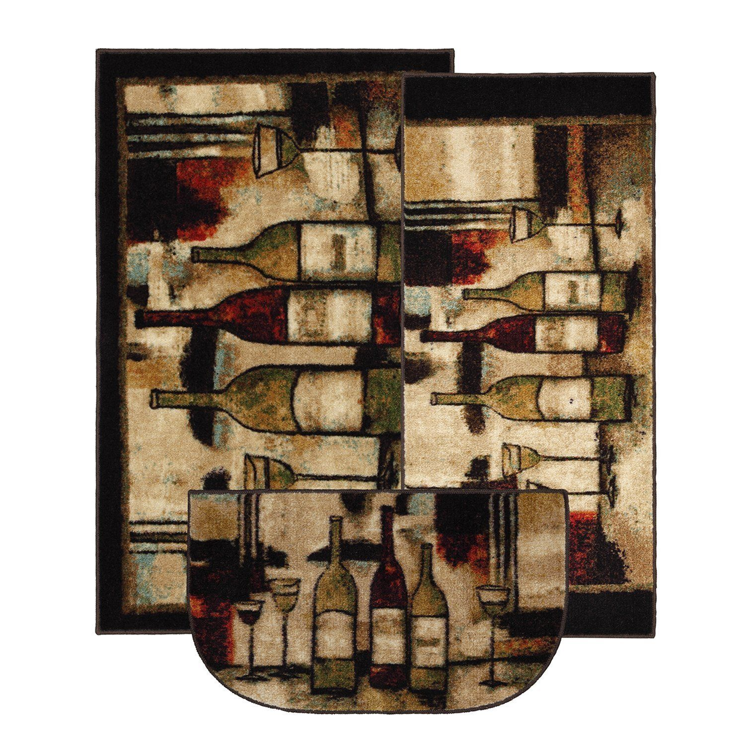 Mohawk home new wave wine and glasses printed rug piece rug set