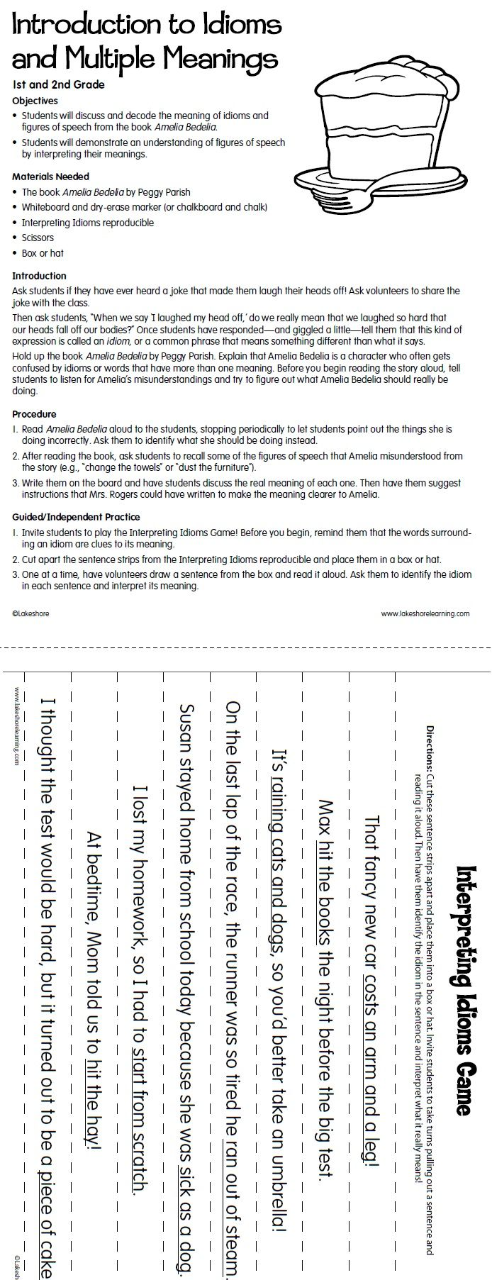worksheet Multiple Meaning Words Worksheets 3rd Grade lakeshore dream classroom introduction to idioms lesson plan from figurative