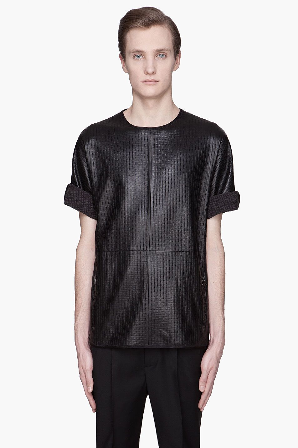 Black quilted t shirt - Black Lanvin Black Quilted Lambskin T Shirt