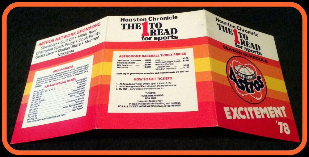 1978 HOUSTON ASTROS HOUSTON CHRONICLE BASEBALL POCKET