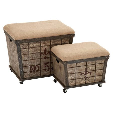 Set Of Two Weathered Wood Storage Ottomans With Rolling Wheels And