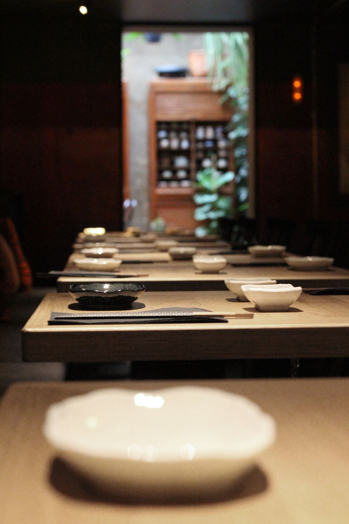 Original Japanese Plates In Robata Restaurant Barcelona