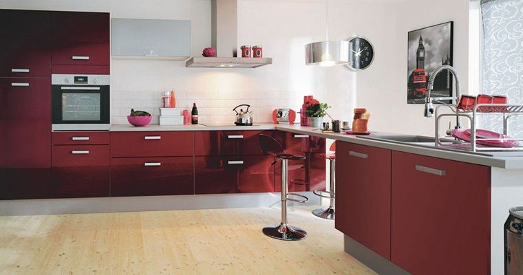 cucine-ad-angolo-moderne-mobili-rosso-scuri | Cucine | Pinterest ...