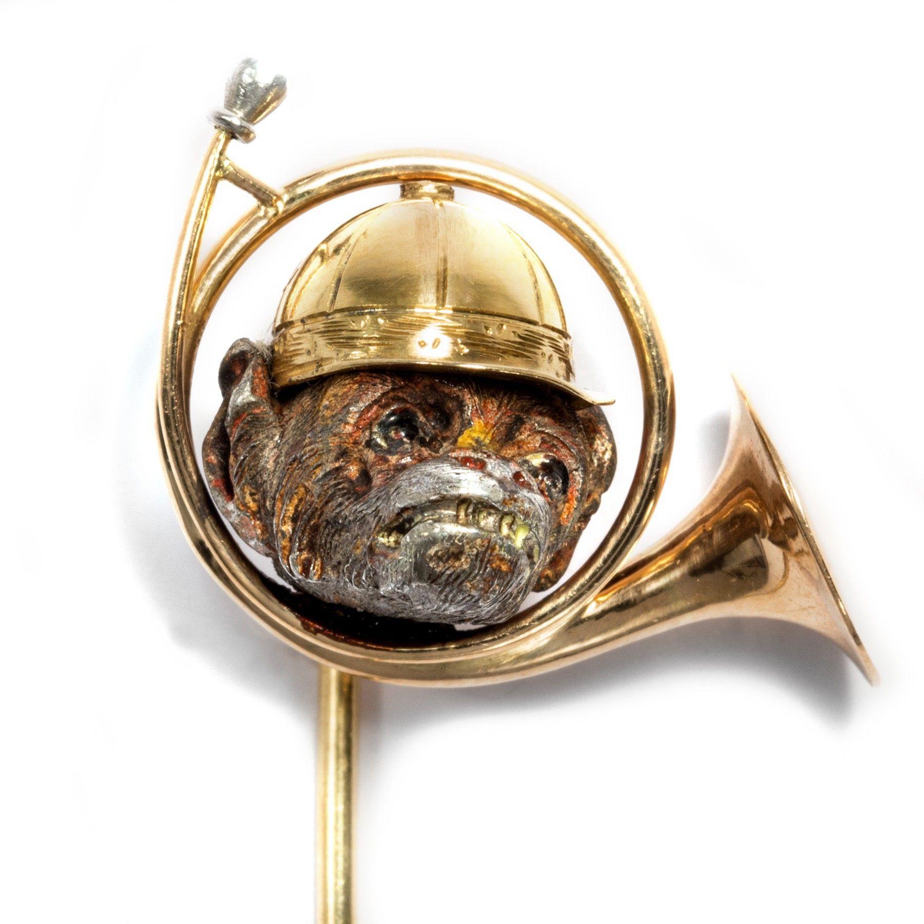 fa5ff682091b Der Affe lässt das Jagen nicht - Antike Novelty-Nadel aus Gold, Frankreich  um