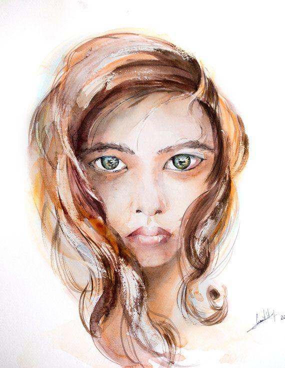 Acquarello originale ritratto di donna con grandi di CanotStop