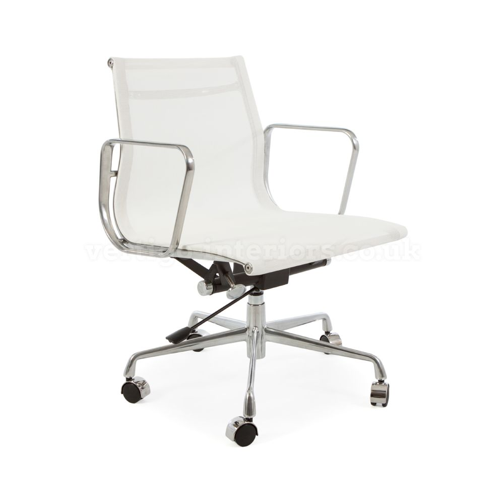 Products Vertigo Interiors Usaeames Style Mesh Chair White Castor Base Usa