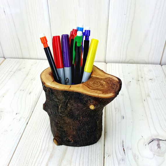 rustic office decor. log pencil holder pen rustic office decor wood desk organizer