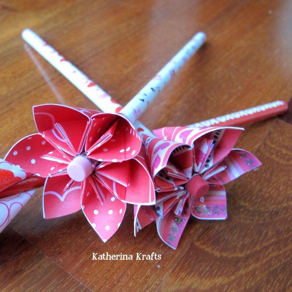 Katherina krafts valentine pencil origami flower favors 3d paper items similar to breast cancer awareness pink ribbon origami flower pencil or pen favors bouquet on etsy mightylinksfo