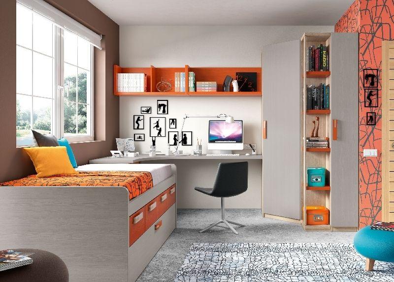 Kids room dormitorio juvenil con cama compacta cajones for Mueble zapatero juvenil