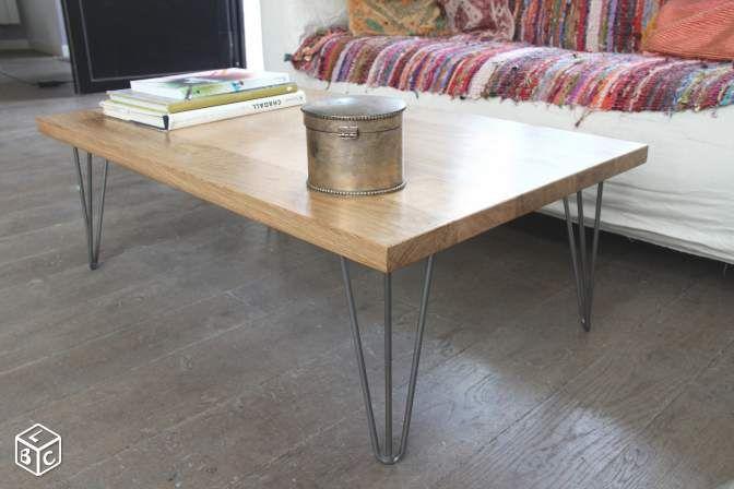 Table Basse Bois Massif Et Pietement Metal Ameublement Paris Leboncoin Fr Table Basse Table De Salon Table Basse Bois