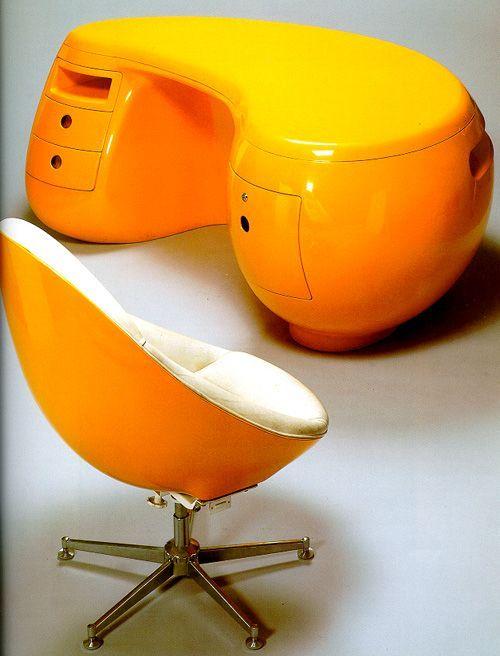 Büro Bitte In Orange Schreibtisch Stuhl I Retro Space Age