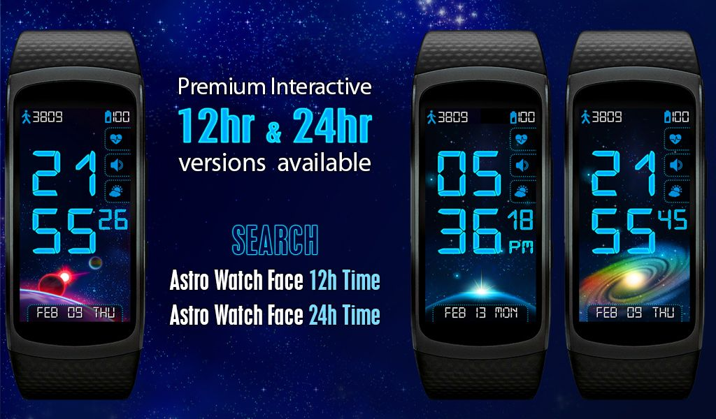 Astro Watch Face 12h 24h Time For Gearfit2 Watchface Themes Watch Faces Samsung Gear Fit 2 Face