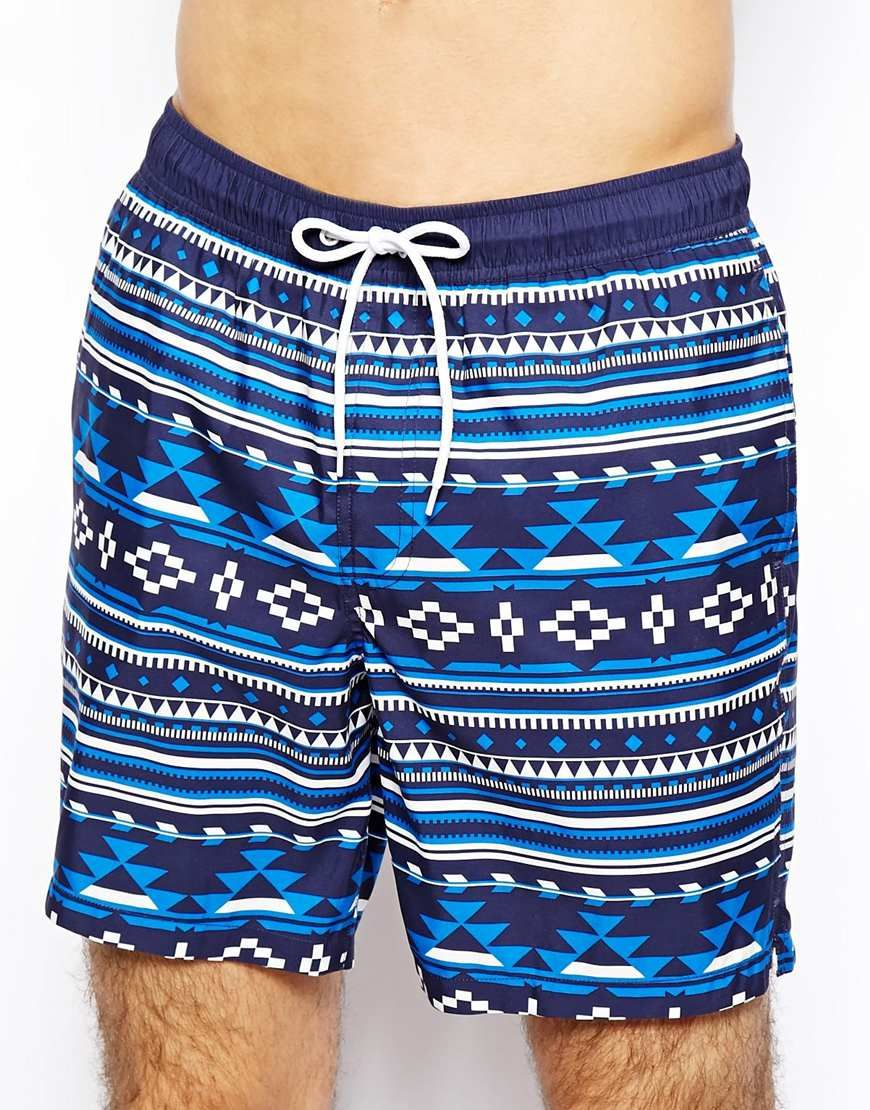 18dfd9dc6e030 Mid length swim shorts by ASOS Outseam measures approximately 16.5in/42cm  in length Drawstring waistband Internal mesh lining Side slant pockets