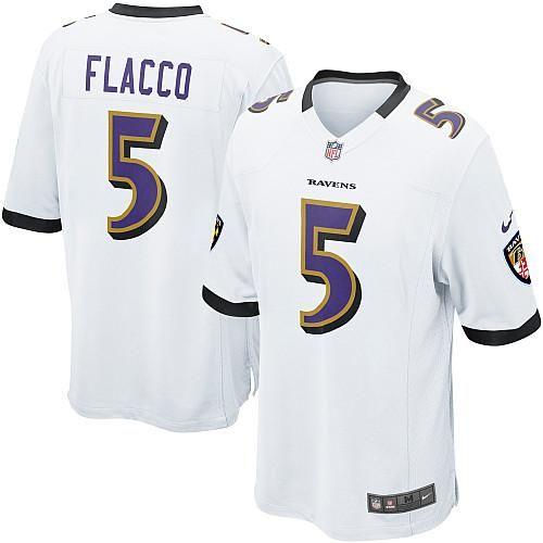 Nike NFL Baltimore Ravens 5 Joe Flacco Game White Road Jersey ... e8e7fa935