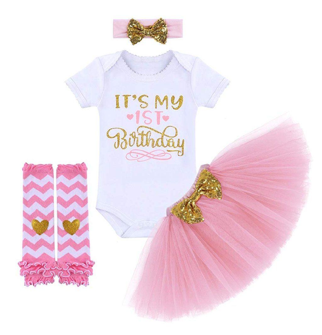 Baby Girls First 1st Birthday Outfit Tutu Skirt Dress Cake Smash Headband Set