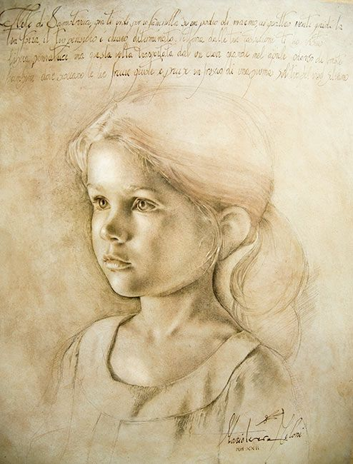 Portrait drawing of a young girl by Maria Teresa Meloni