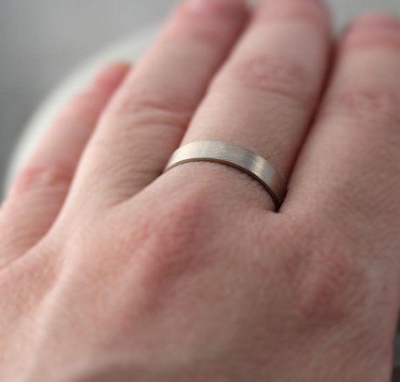 Men S Gold Wedding Band Unisex 4mm Brushed Matte Flat 14k